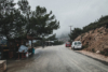 foggy street at monolithos