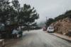 foggy street at monolithos