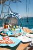 greek food platter during a sailing trip