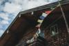 tibetian prayer flags on a farmhouse