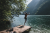 summer jumping into lake königssee