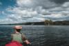 canoe on lake and island