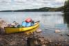 canoe and gear at the lake